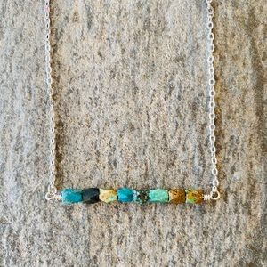 Turquoise and Silver Bar Necklace